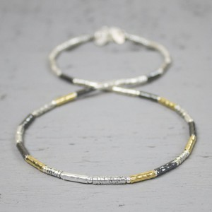 JÉH JEWELS ZILVEREN COLLIER OXY AND WHITE SHINY + GOLDFILLED 42CM - 68052