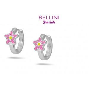 BELLINI ZILVEREN CREOLEN BLOEM ROZE/GEEL - 76474