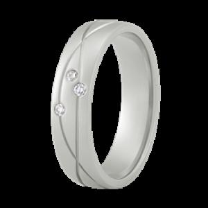 ALLER SPANNINGA ZILVEREN RING MET 3 X 0.01 BRILJANT MT54 - 72195