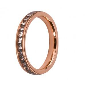 MELANO STALEN AANSCHUIFRING ROSE VERGULD MET BLACK DIAMONDS ZIRKONIA MT58 - 72667